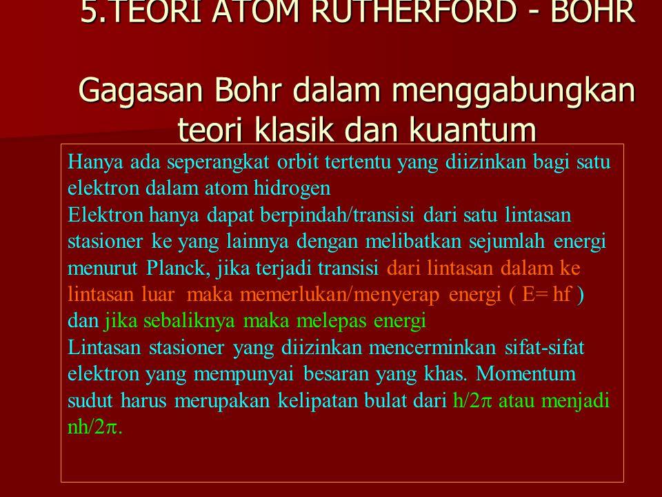 5.TEORI ATOM RUTHERFORD - BOHR Gagasan Bohr dalam menggabungkan teori klasik dan kuantum