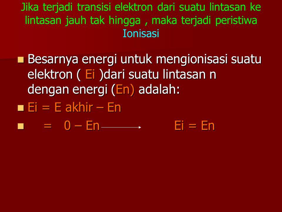 Jika terjadi transisi elektron dari suatu lintasan ke lintasan jauh tak hingga , maka terjadi peristiwa Ionisasi