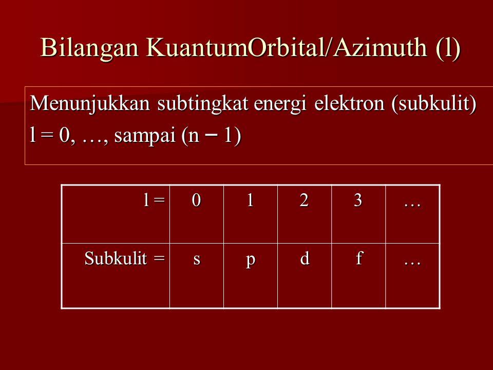 Bilangan KuantumOrbital/Azimuth (l)