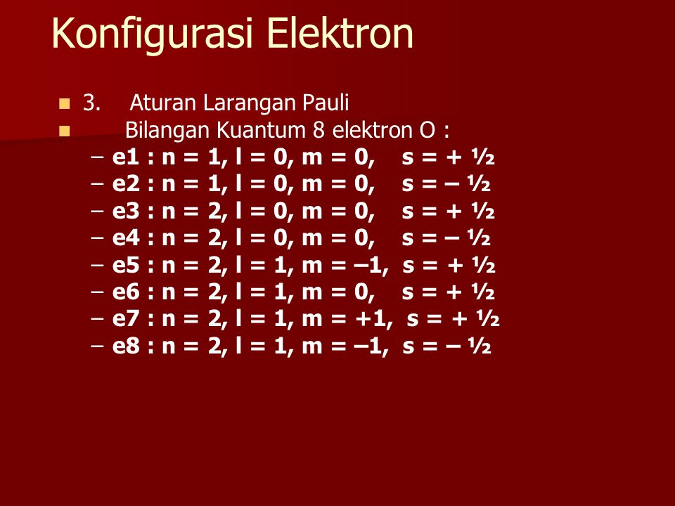 Konfigurasi Elektron 3. Aturan Larangan Pauli