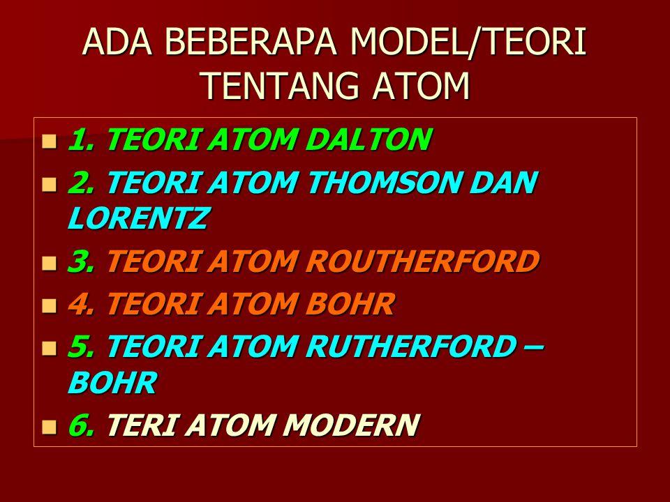 ADA BEBERAPA MODEL/TEORI TENTANG ATOM