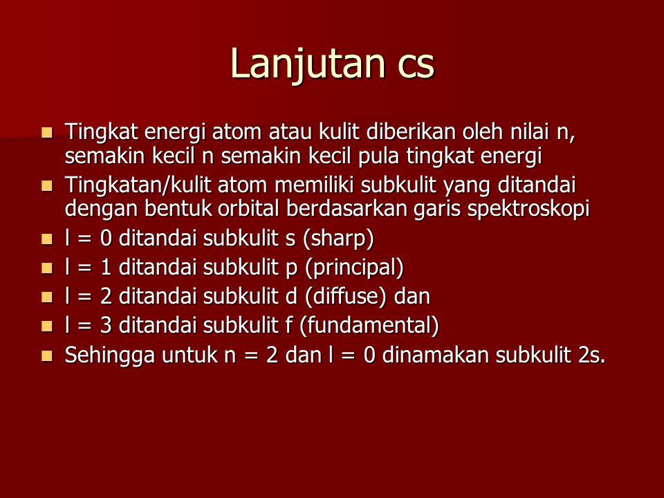 Lanjutan cs Tingkat energi atom atau kulit diberikan oleh nilai n, semakin kecil n semakin kecil pula tingkat energi.
