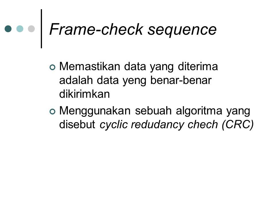 Frame-check sequence Memastikan data yang diterima adalah data yeng benar-benar dikirimkan.