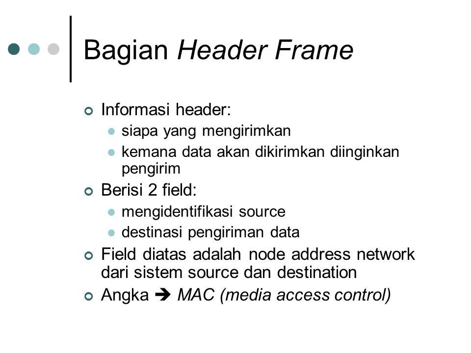 Bagian Header Frame Informasi header: Berisi 2 field: