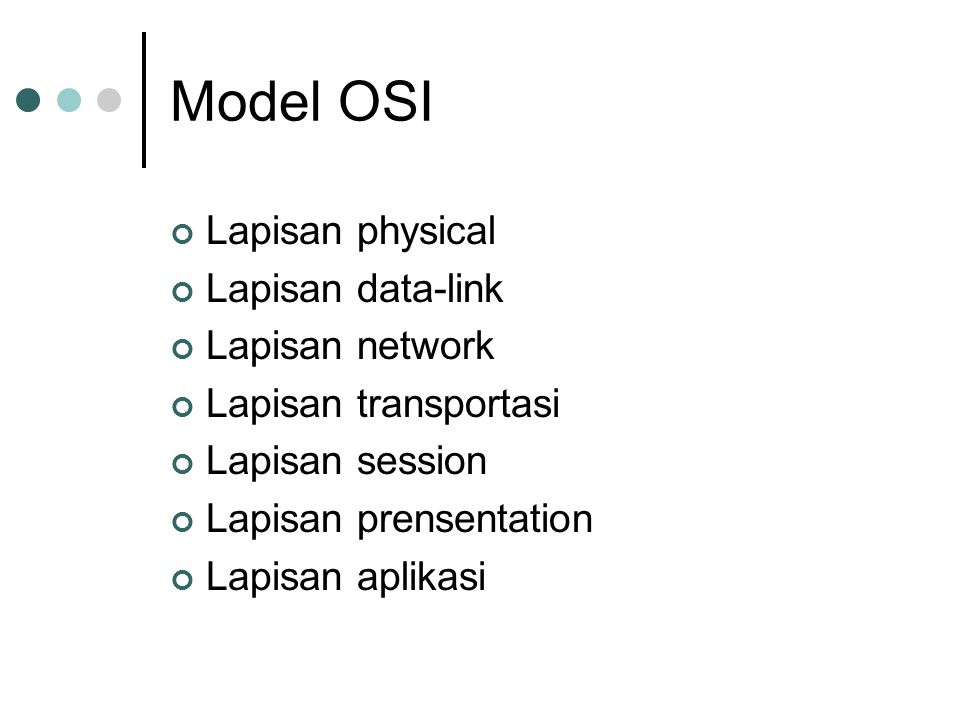 Model OSI Lapisan physical Lapisan data-link Lapisan network