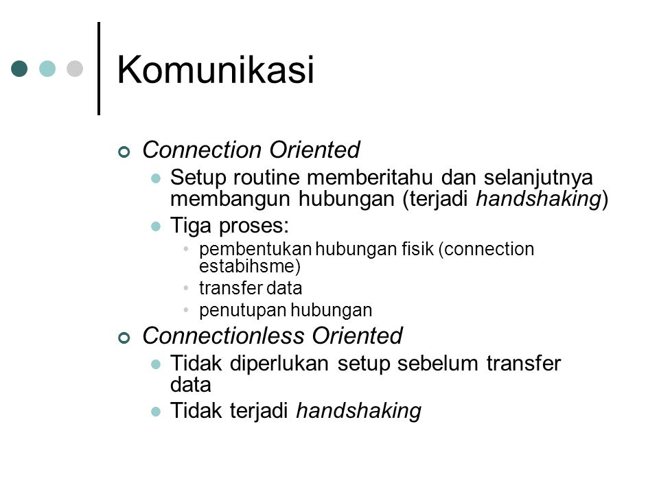 Komunikasi Connection Oriented Connectionless Oriented