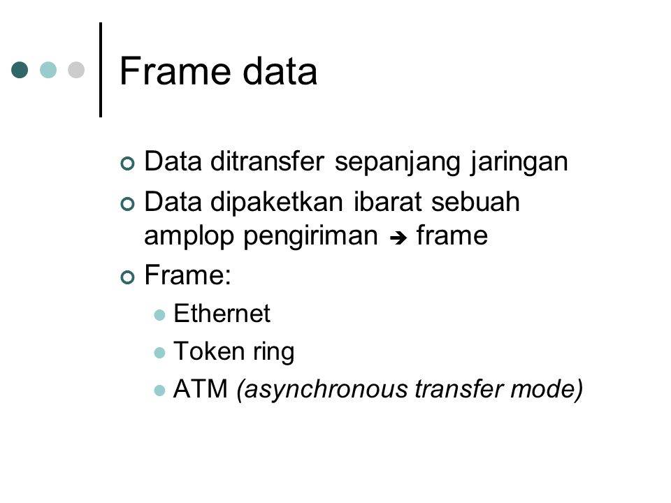 Frame data Data ditransfer sepanjang jaringan