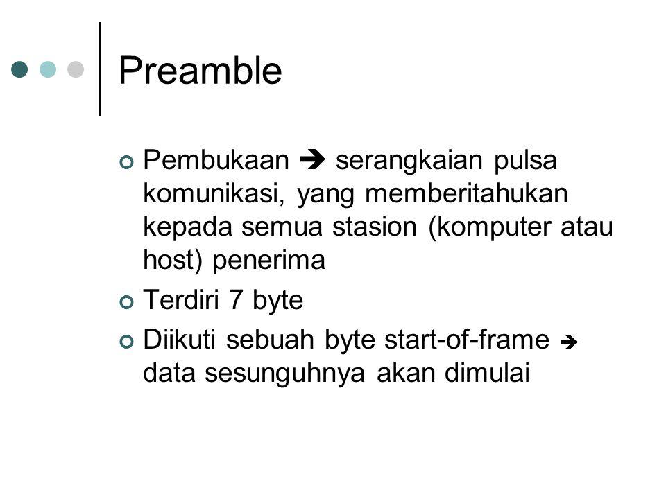 Preamble Pembukaan  serangkaian pulsa komunikasi, yang memberitahukan kepada semua stasion (komputer atau host) penerima.