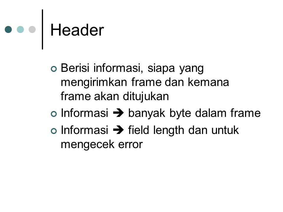 Header Berisi informasi, siapa yang mengirimkan frame dan kemana frame akan ditujukan. Informasi  banyak byte dalam frame.