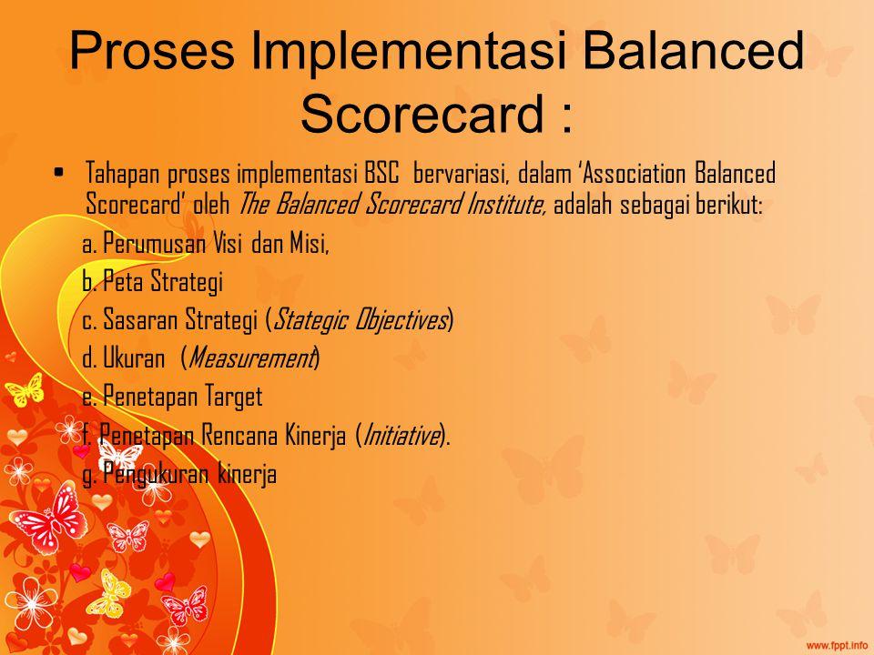 Proses Implementasi Balanced Scorecard :