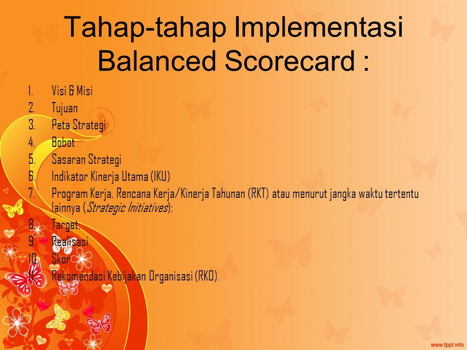 Tahap-tahap Implementasi Balanced Scorecard :