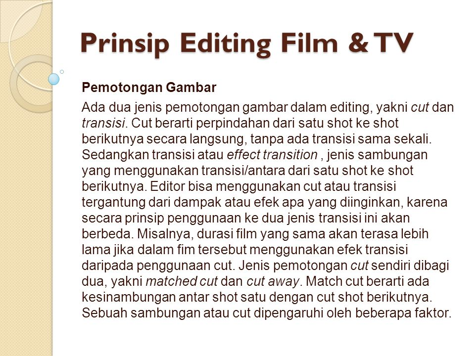 Prinsip Editing Film & TV
