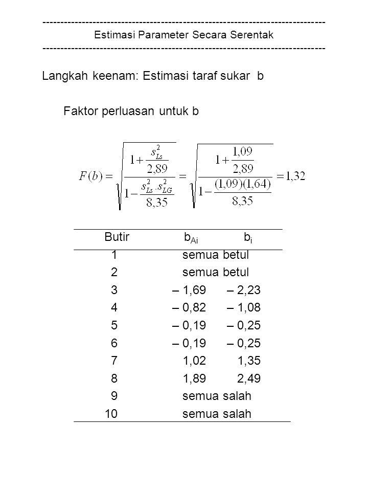 Langkah keenam: Estimasi taraf sukar b Faktor perluasan untuk b