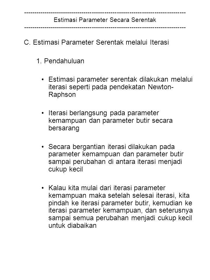 C. Estimasi Parameter Serentak melalui Iterasi 1. Pendahuluan