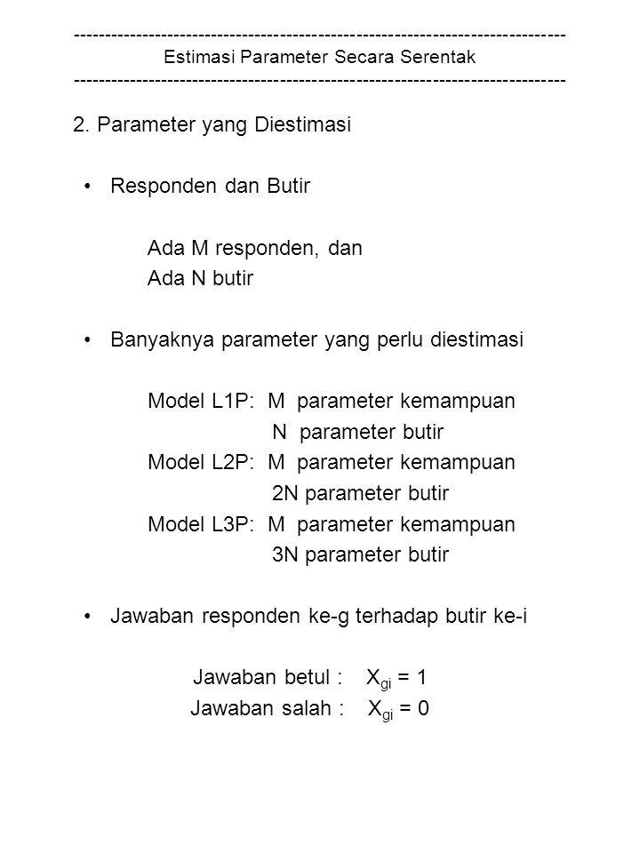 2. Parameter yang Diestimasi Responden dan Butir Ada M responden, dan