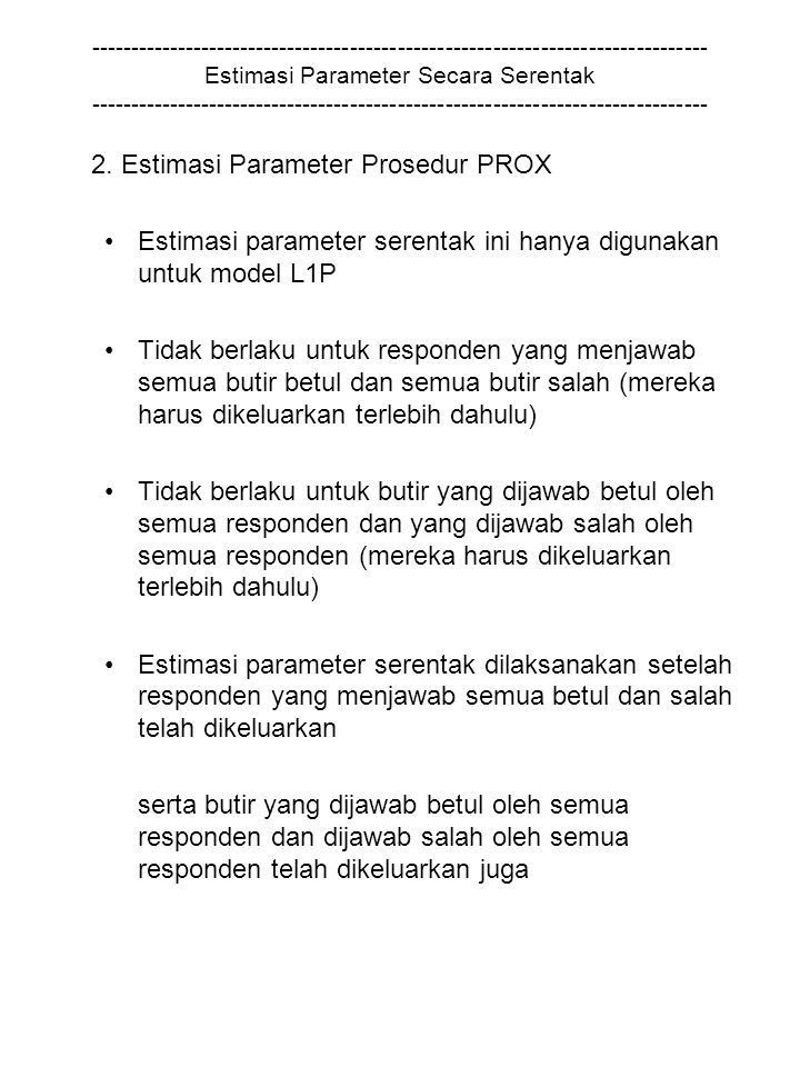 2. Estimasi Parameter Prosedur PROX