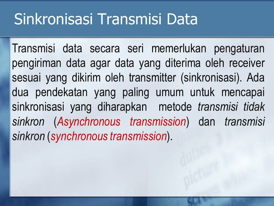 Sinkronisasi Transmisi Data
