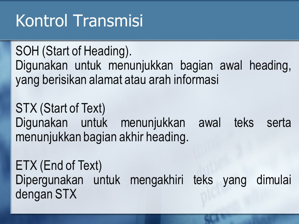 Kontrol Transmisi SOH (Start of Heading).