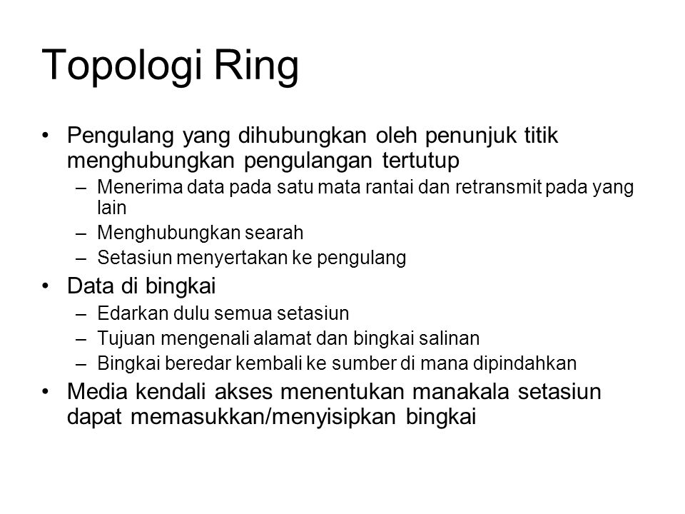 Topologi Ring Pengulang yang dihubungkan oleh penunjuk titik menghubungkan pengulangan tertutup.