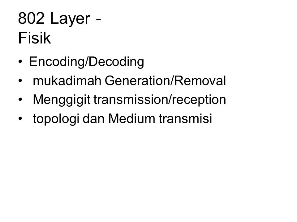 802 Layer - Fisik Encoding/Decoding mukadimah Generation/Removal