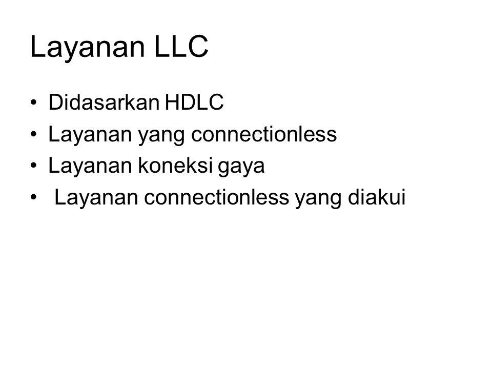 Layanan LLC Didasarkan HDLC Layanan yang connectionless