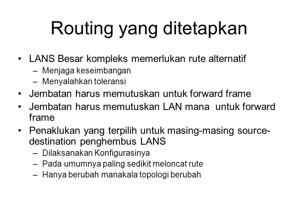 Routing yang ditetapkan