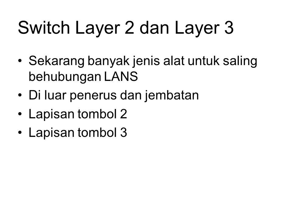 Switch Layer 2 dan Layer 3 Sekarang banyak jenis alat untuk saling behubungan LANS. Di luar penerus dan jembatan.