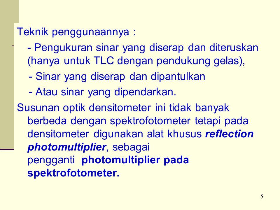 Teknik penggunaannya : - Pengukuran sinar yang diserap dan diteruskan (hanya untuk TLC dengan pendukung gelas), - Sinar yang diserap dan dipantulkan - Atau sinar yang dipendarkan. Susunan optik densitometer ini tidak banyak berbeda dengan spektrofotometer tetapi pada densitometer digunakan alat khusus reflection photomultiplier, sebagai pengganti photomultiplier pada spektrofotometer.