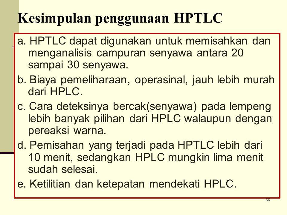 Kesimpulan penggunaan HPTLC