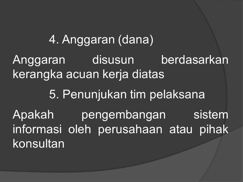 4. Anggaran (dana) Anggaran disusun berdasarkan kerangka acuan kerja diatas. 5. Penunjukan tim pelaksana.