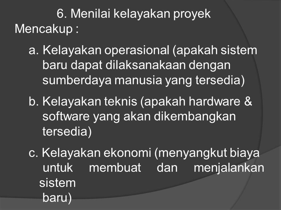 6. Menilai kelayakan proyek