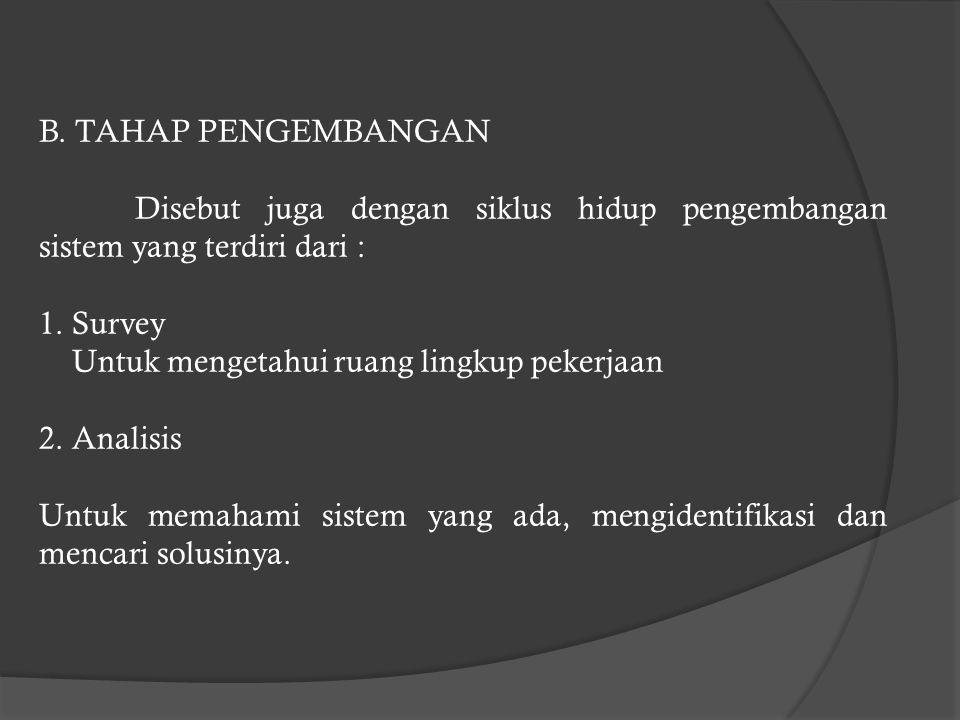 B. TAHAP PENGEMBANGAN Disebut juga dengan siklus hidup pengembangan sistem yang terdiri dari : 1. Survey.