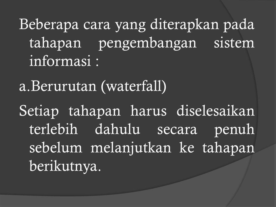 Beberapa cara yang diterapkan pada tahapan pengembangan sistem informasi :