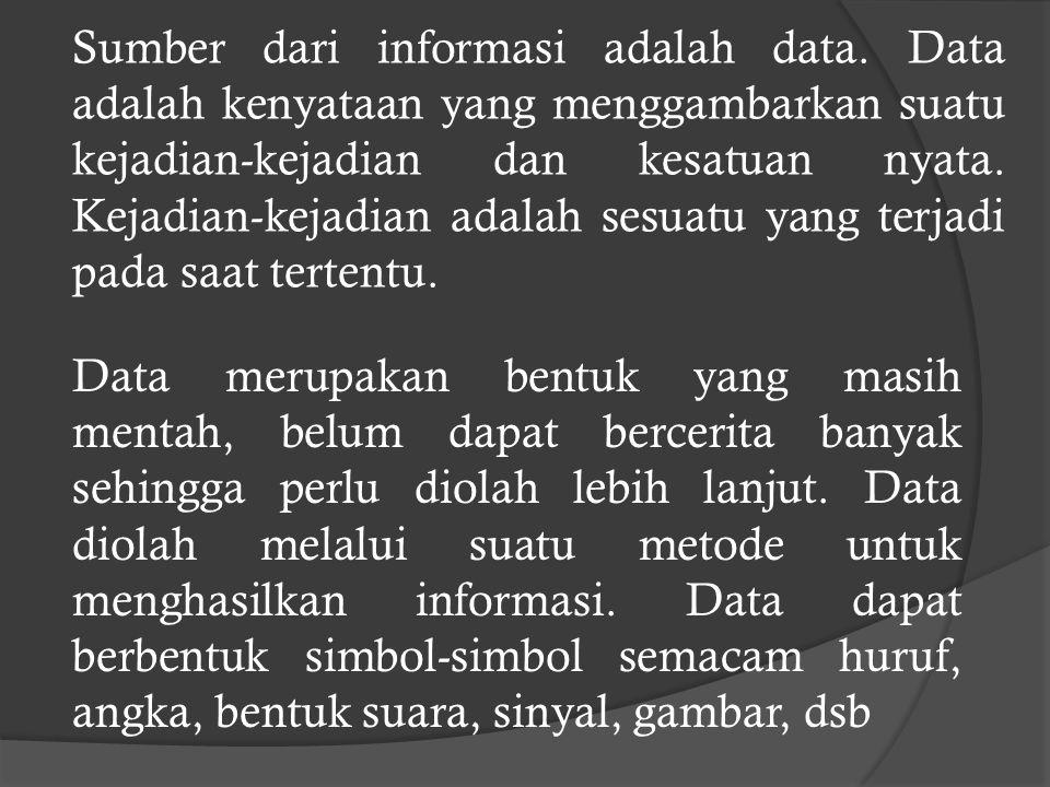 Sumber dari informasi adalah data