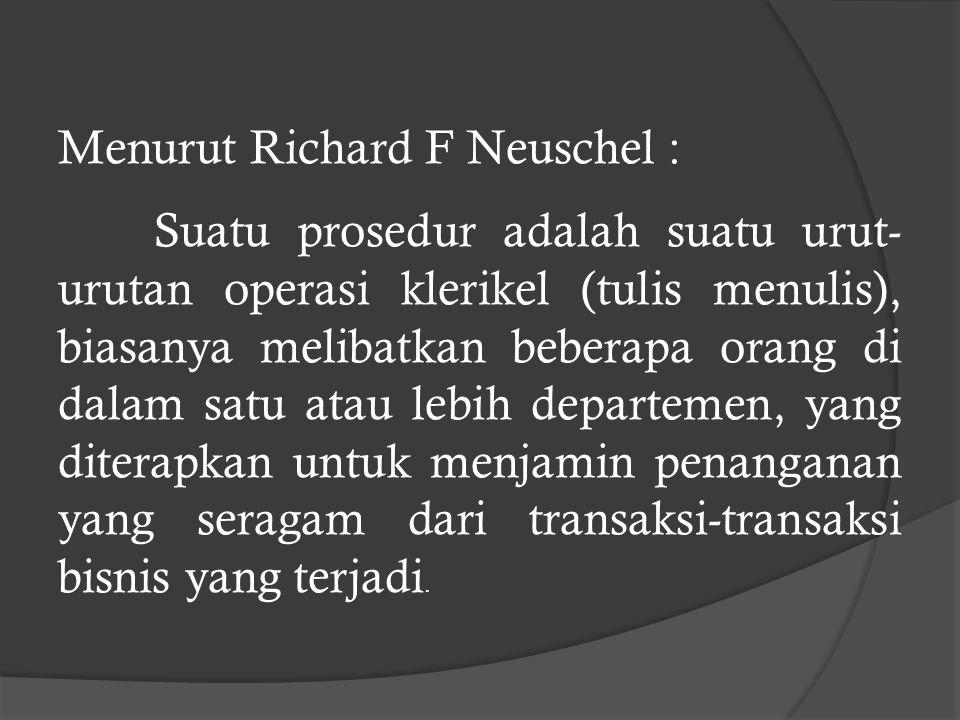 Menurut Richard F Neuschel :