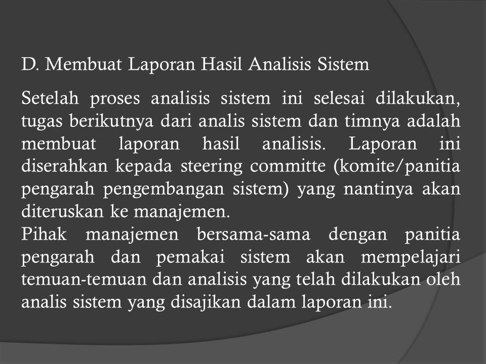 D. Membuat Laporan Hasil Analisis Sistem