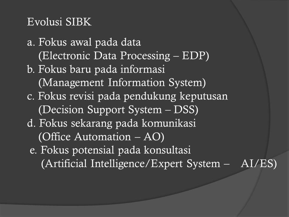 Evolusi SIBK a. Fokus awal pada data. (Electronic Data Processing – EDP) b. Fokus baru pada informasi.
