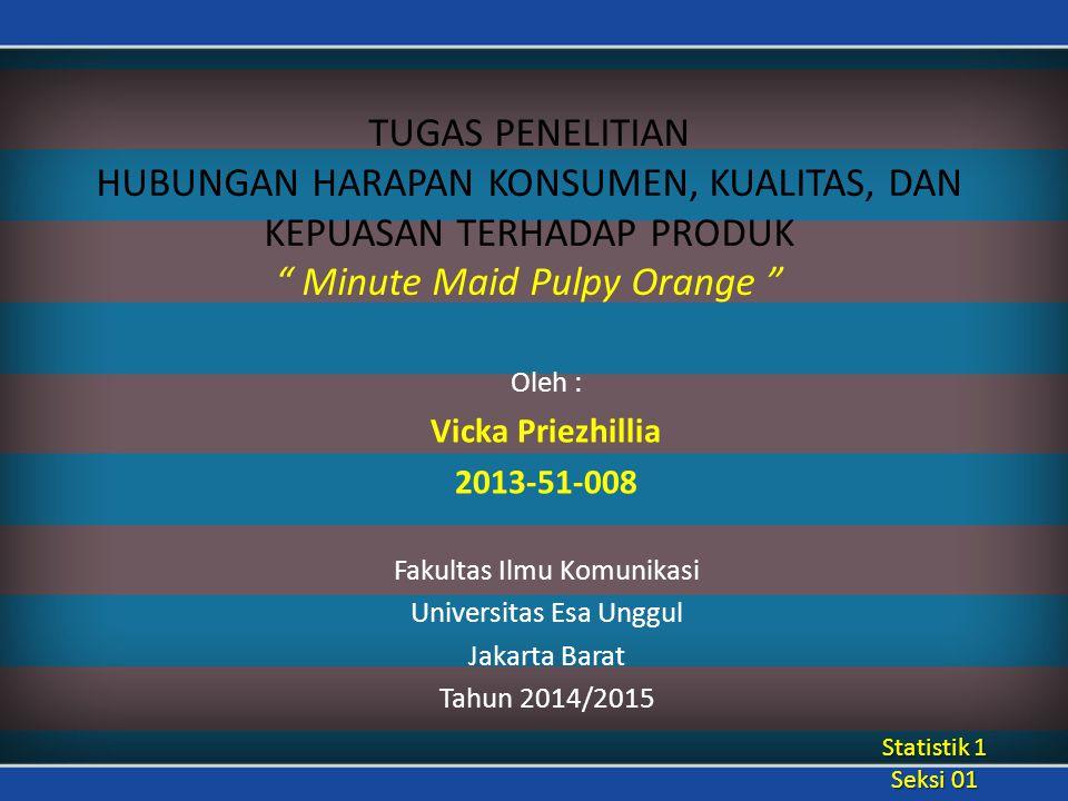 TUGAS PENELITIAN HUBUNGAN HARAPAN KONSUMEN, KUALITAS, DAN KEPUASAN TERHADAP PRODUK Minute Maid Pulpy Orange