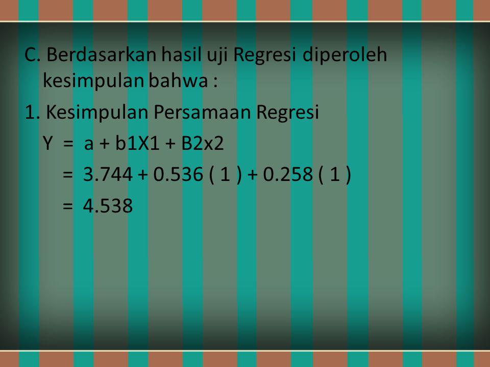 C. Berdasarkan hasil uji Regresi diperoleh kesimpulan bahwa : 1