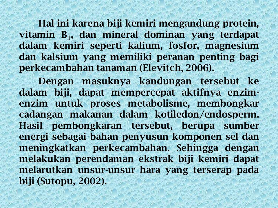 Hal ini karena biji kemiri mengandung protein, vitamin B1, dan mineral dominan yang terdapat dalam kemiri seperti kalium, fosfor, magnesium dan kalsium yang memiliki peranan penting bagi perkecambahan tanaman (Elevitch, 2006).