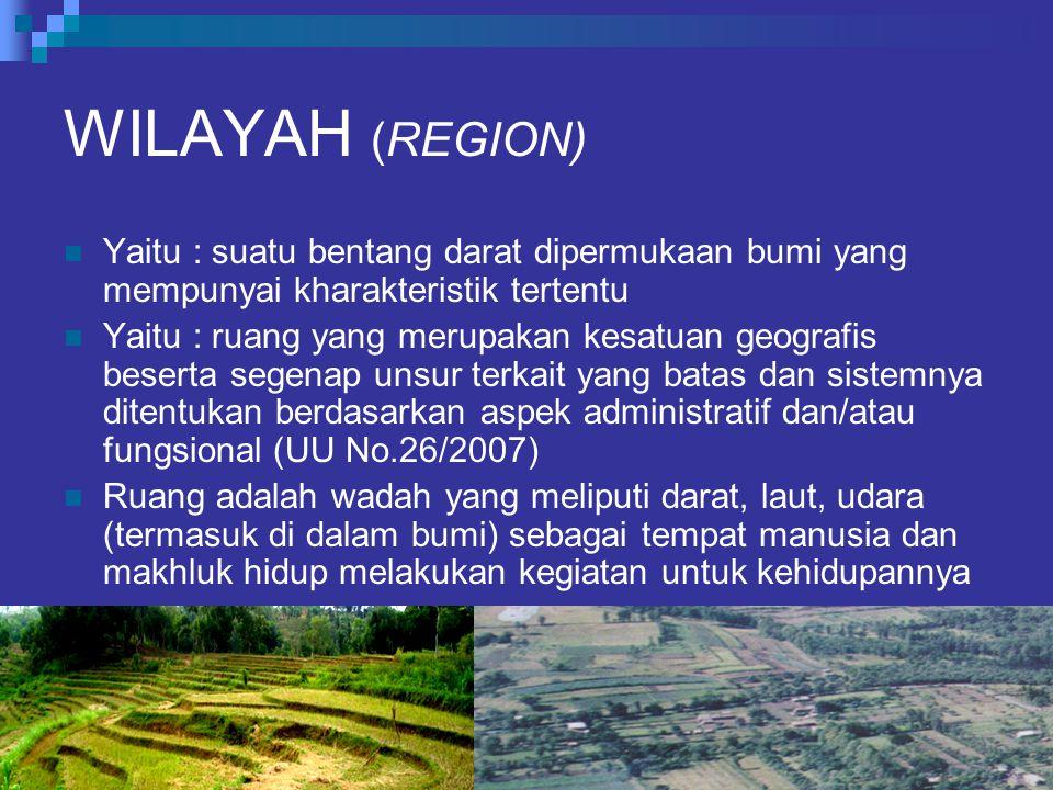 WILAYAH (REGION) Yaitu : suatu bentang darat dipermukaan bumi yang mempunyai kharakteristik tertentu.