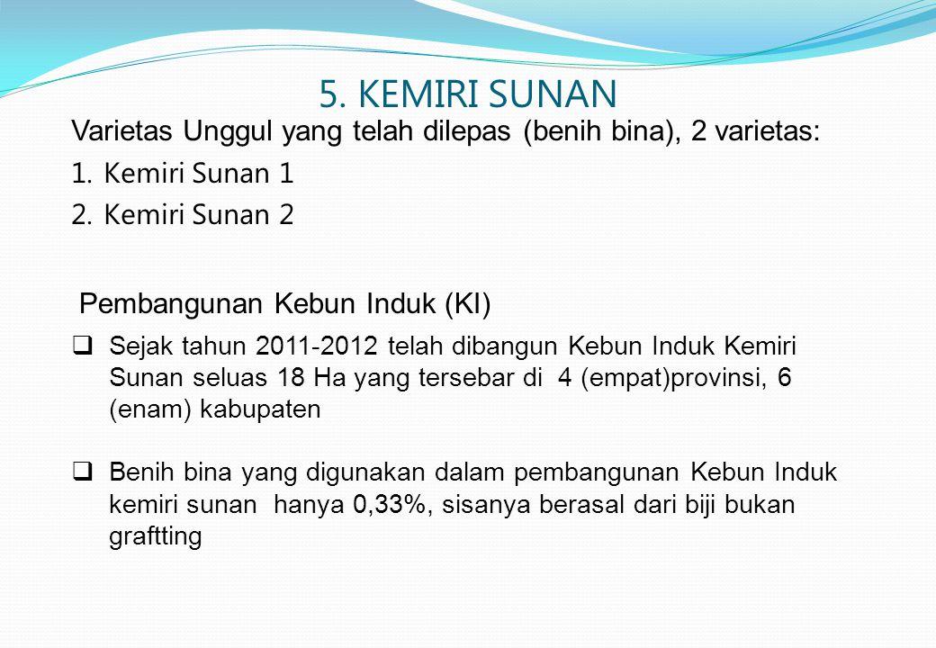 5. KEMIRI SUNAN Varietas Unggul yang telah dilepas (benih bina), 2 varietas: Kemiri Sunan 1. Kemiri Sunan 2.