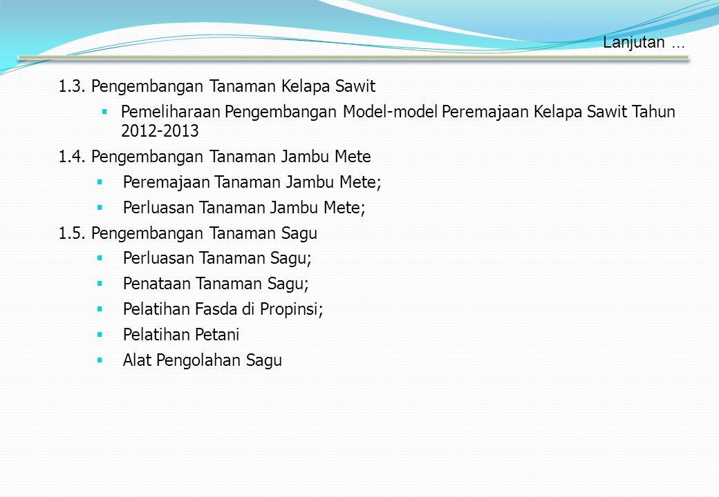 Lanjutan ... 1.3. Pengembangan Tanaman Kelapa Sawit. Pemeliharaan Pengembangan Model-model Peremajaan Kelapa Sawit Tahun 2012-2013.