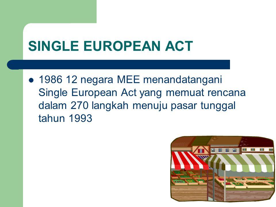 SINGLE EUROPEAN ACT 1986 12 negara MEE menandatangani Single European Act yang memuat rencana dalam 270 langkah menuju pasar tunggal tahun 1993.