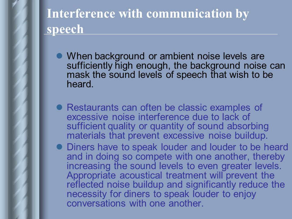 Interference with communication by speech