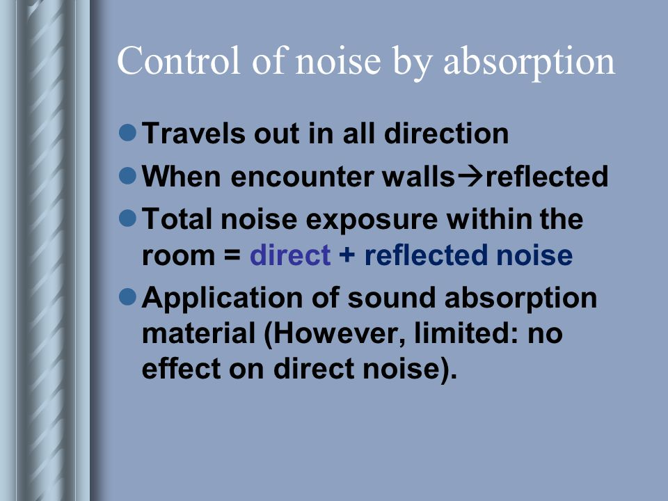 Control of noise by absorption