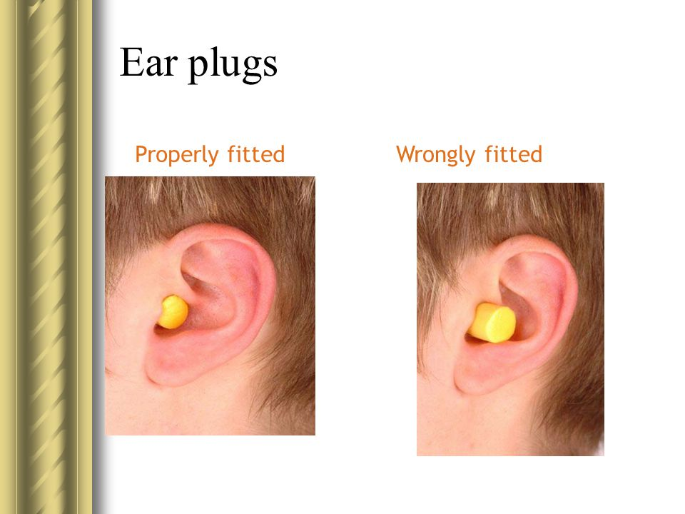 Ear plugs Properly fitted Wrongly fitted