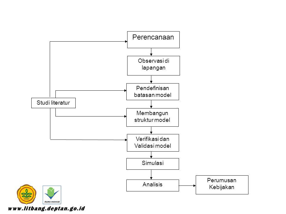 Perencanaan Observasi di lapangan Pendefinisan batasan model