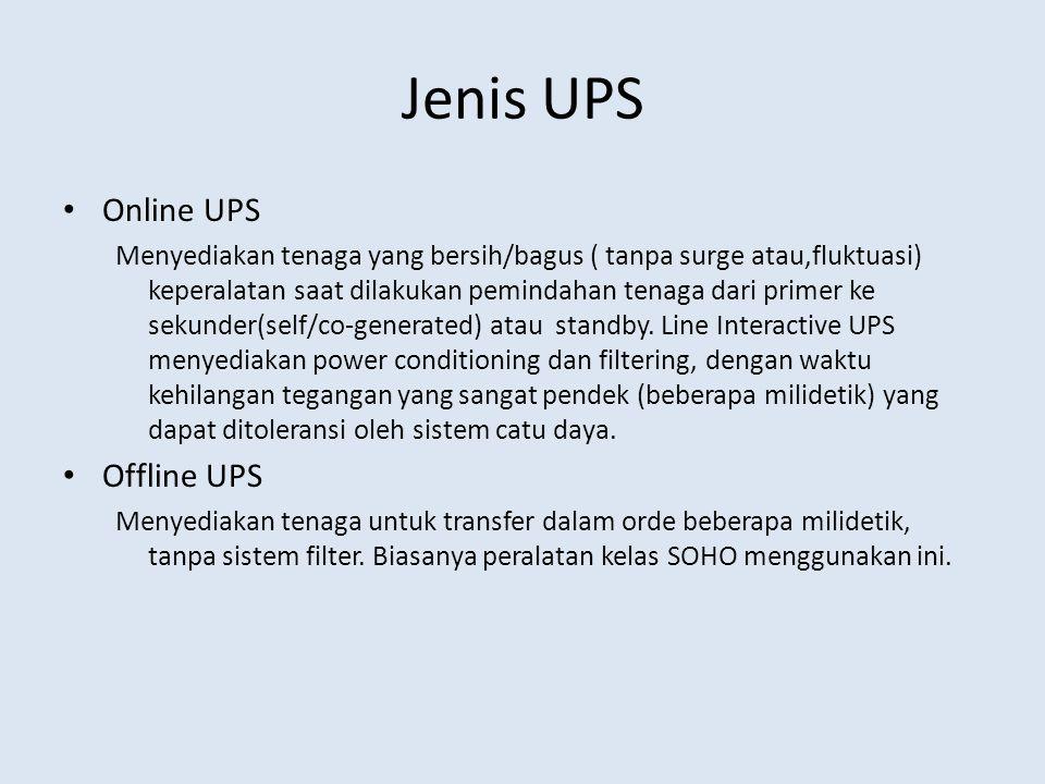 Jenis UPS Online UPS Offline UPS
