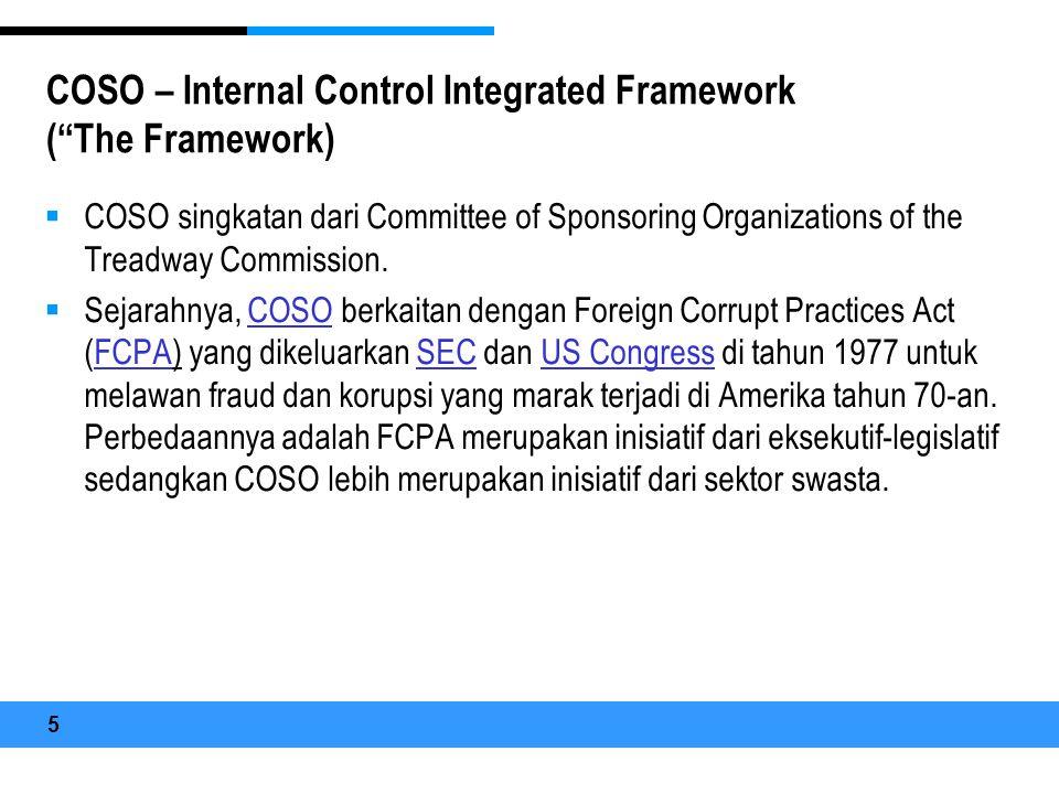 COSO – Internal Control Integrated Framework ( The Framework)